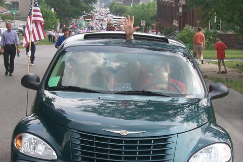 Regina prowls the pre-parade route...