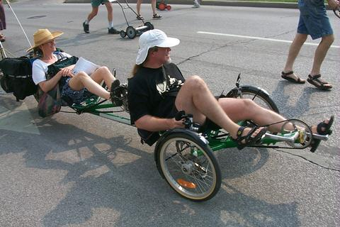 Bike on by -- recumbent in Bloomington parade
